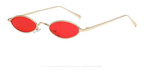 Óculos De Sol Oval Vermelho Retro Vintage Estiloso