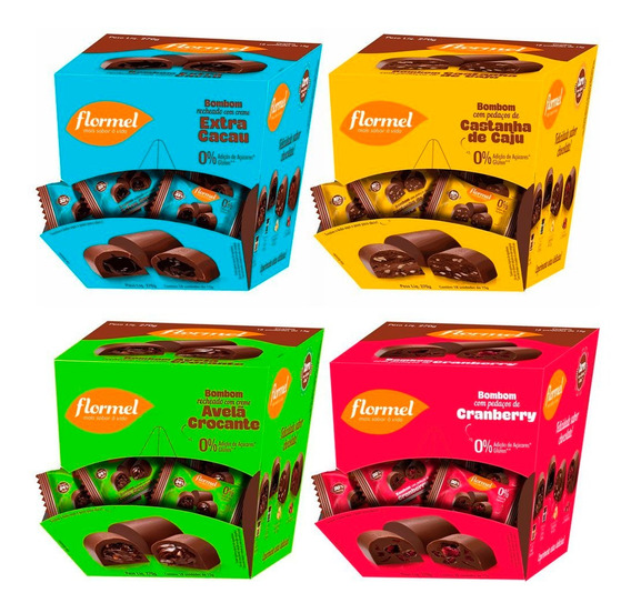 Kit Com 4 Caixas De Bombons Flormel Zero Açúcar