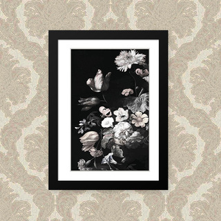 Quadro Decorativo 23x33 A4 Flor Fundo Escuro