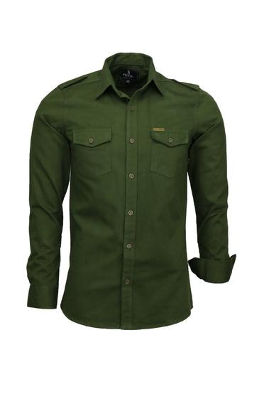 Camisa Casual Masculina Estilo Militar De Algodão Paris Luxo