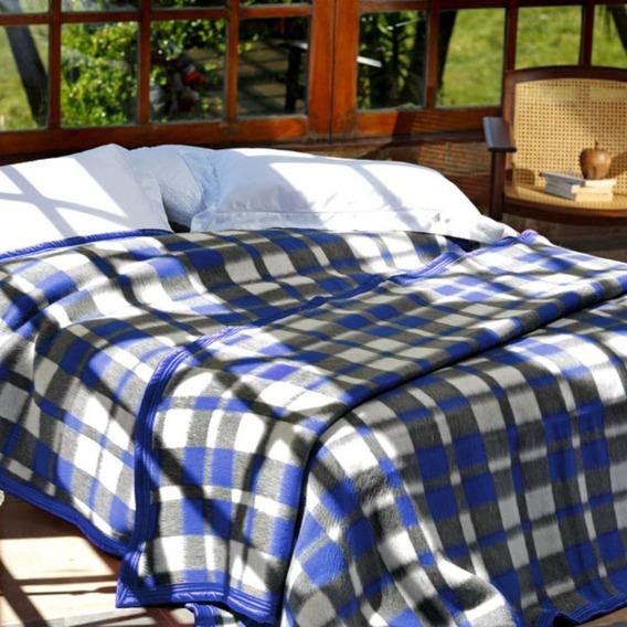 Cobertor Solteiro Guaratinguetá Boa Noite Xadrez Azul
