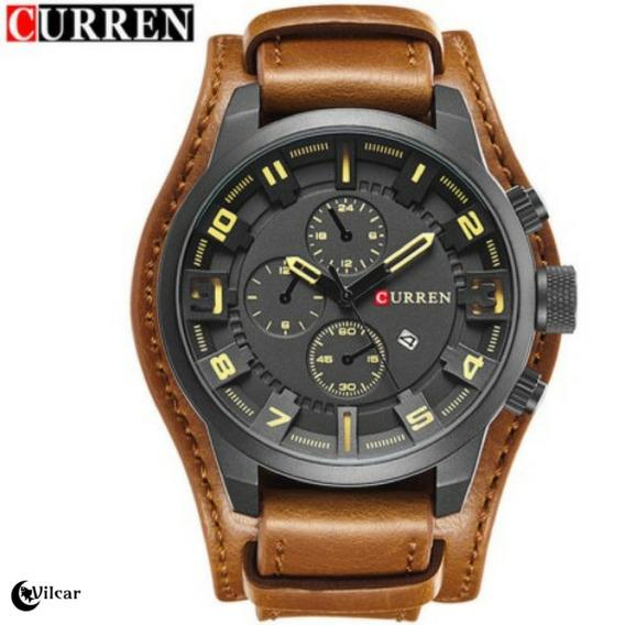 Relógio Masculino Curren 8225 Pulseira Em Couro - Marrom