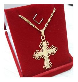 Cordão Feminino Crucifixo Folheado À Ouro 18k