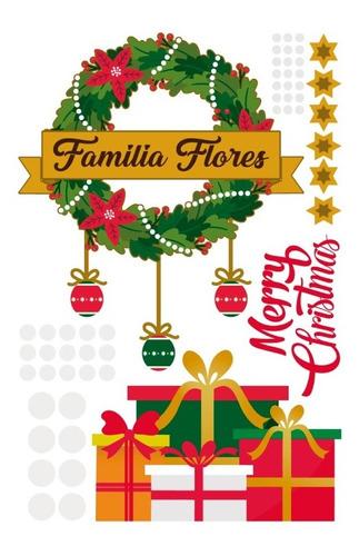 Decoración En Vinil Corona Navideña Personalizable Navidad