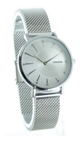 Reloj Tressa Mujer Malla Tejida Modelo Belu Plateado