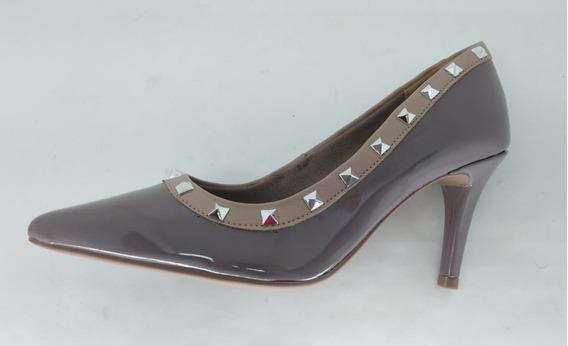 Sapato Scarpin Via Marte 18-5901 Verniz Figo/blush Sintétic