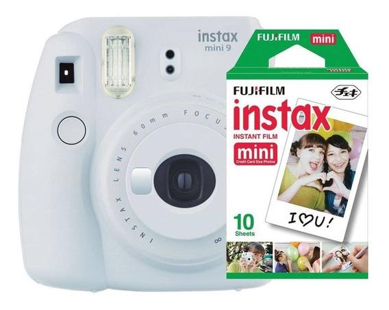 Kit Câmera Instax Mini 9 - Branco Gelo: Bolsa + 10 Filmes