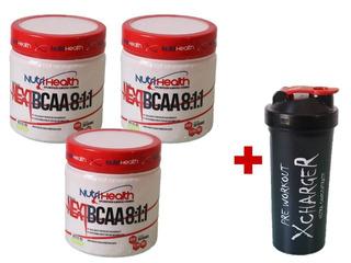 Kit 3x Bcaa Pó 300g Laranja Nutrihealth Suplementos + Shaker