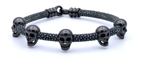 Double Bone Multi Skull Black & Gray Plata Diego Vez