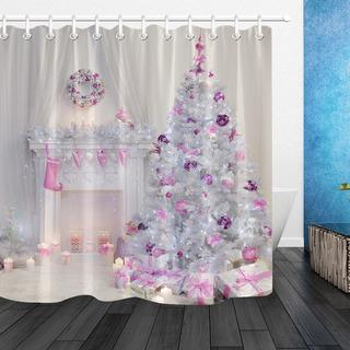 Árbol De Navidad Interior De Navidad Chimenea Rosa Decorada