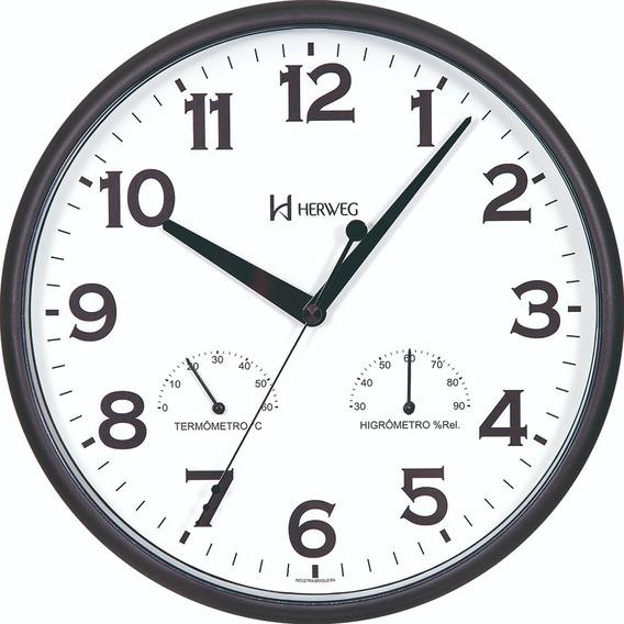 Relógio De Parede Preto Temperatura Umidade Herweg 660072