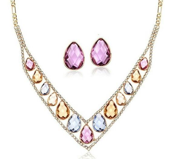 Fino Set Collar Aretes Cristal Swarovski Elements 18kgp