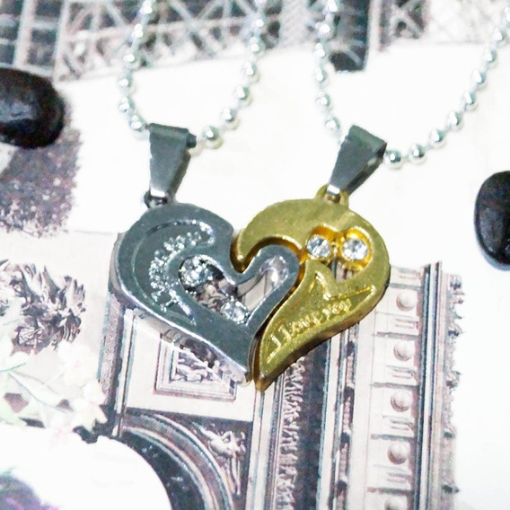 Collar Dije Para Novios Corazon Love You Pereja Dorado Gold