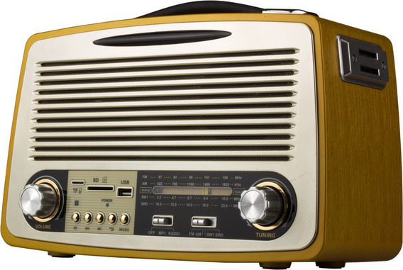 Radio Vintage Retro Am Fm Usb Bateria Som Bluetooth Antigo