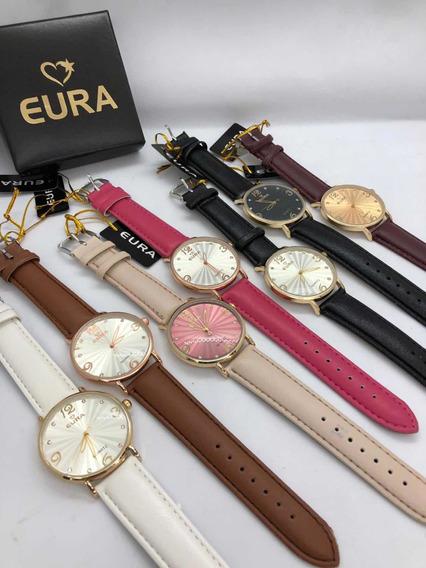 5 Relógios Eura Ponteiro + Bateria Extra+caixinha+ Revenda