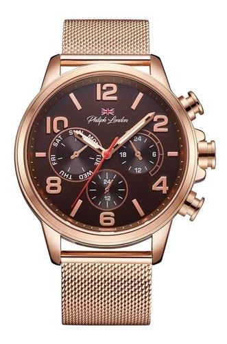 Relógio Philiph London Masculino Ref: Pl80056613m Mr Rosé