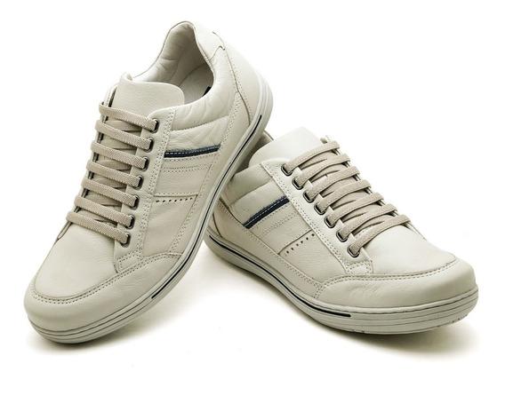 Sapato Sapatênis Masculino Ziper Lateral Azul Ranster Couro