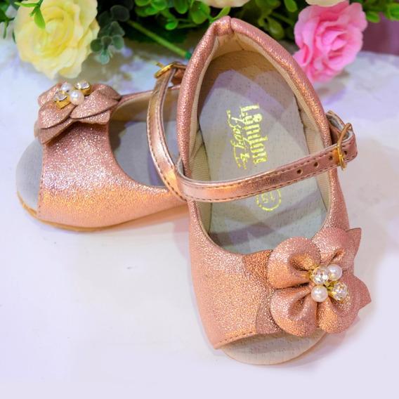Sapato Infantil De Festa Para Menina Rosê