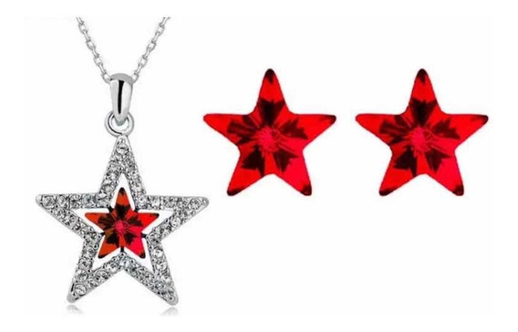Regalo Collar Aretes Estrella Amor Amistad Swarovski Element