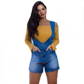 Salopete Jardineira Jeans Short Sem Lycra Black Friday