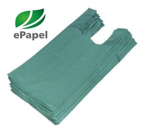 2.000 Sacola Plástica Média 38x48 - Reciclada Verde D22 Fina