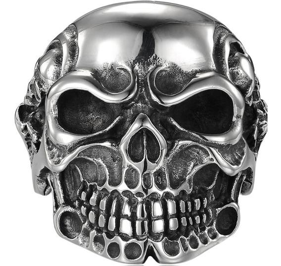 Anel Caveira Crânio Aço Inoxidável 316l Rock Punk Gótico Exu
