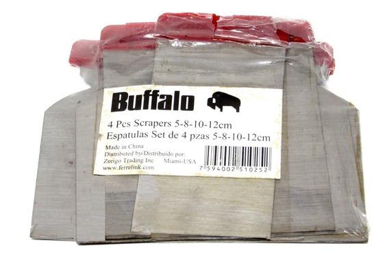 Juego Espátulas Metálicas 4 Pzas 5cm 8cm 10cm 12cm Buffalo