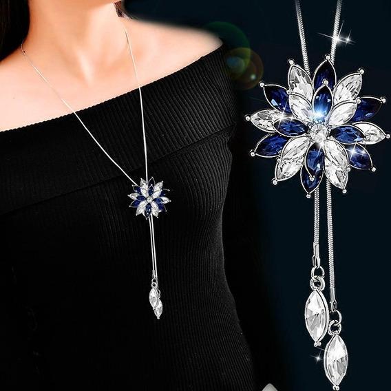 Colar Feminino Longo Comprido Cristal Swarovsky Azul 19333