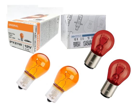 2 Lampadas 21/5w Vermelha Original + 2 Lampadas Pisca Osram