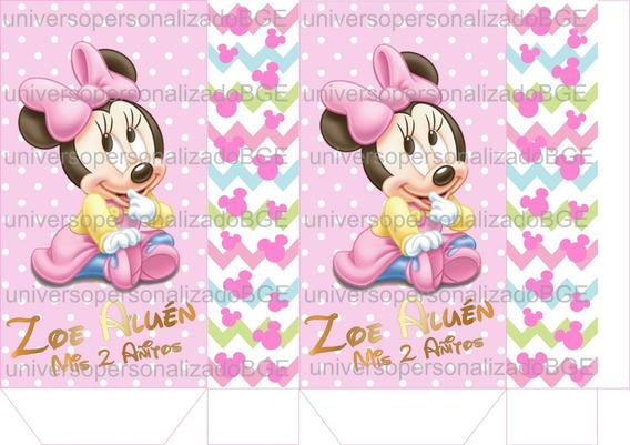 30 Bolsitas Minnie Bebe Para Armar + Cierra Sticker Dorado