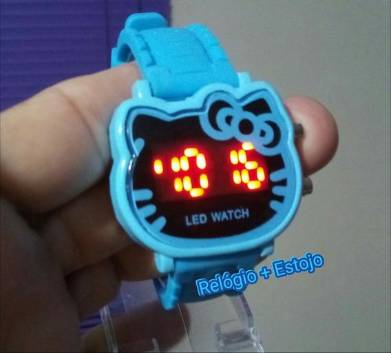 Relógio Hello Kitty Azul Crianças & Adolecentes Digital Led