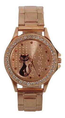 Relógio Feminino Rosê Gatinho Brilhante Da Moda Blogueiras