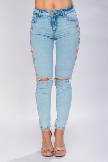 Pantalon Jeans Mezclilla Mujer Bordado Deslavado Moda V81107