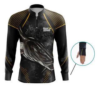 Camisa De Pesca Mar Negro Com Proteção Solar Uv50+ Pintado