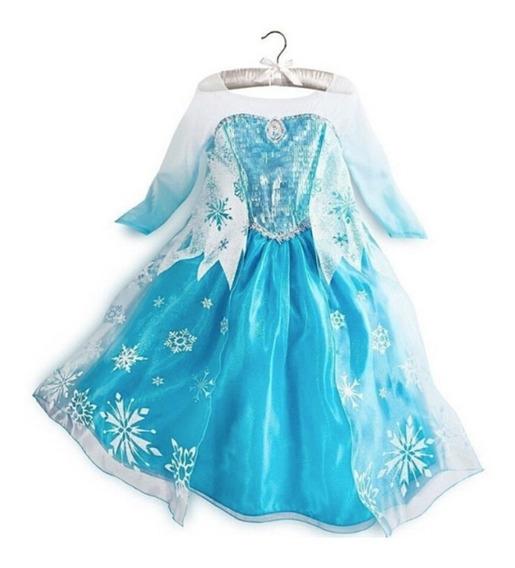 Vestido De Princesa Elsa Frozen Azul Y Blanco