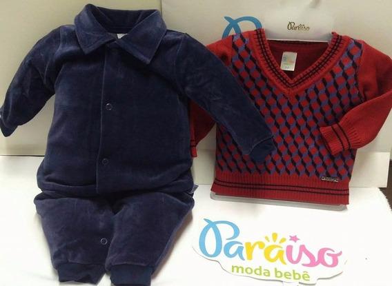 Kit Paraiso Macacão Bebe Menino Plush + Sueter Tricot 6972