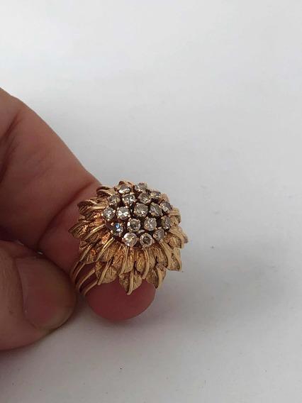 Anel Retrô Ouro 18k 750 E Diamantes