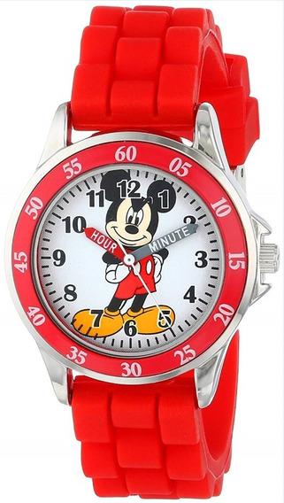 Reloj Disney Mickey Mouse Mk1239 Con Correa Roja De Goma