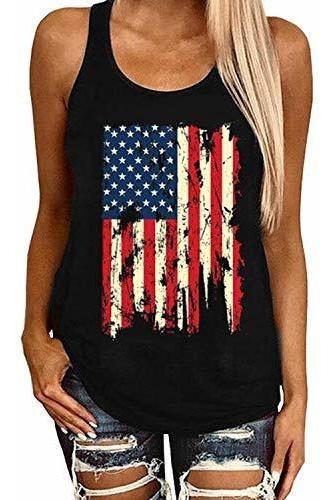 Eigiagwng Mujeres Leopardo Bandera Americana Estrella Camise