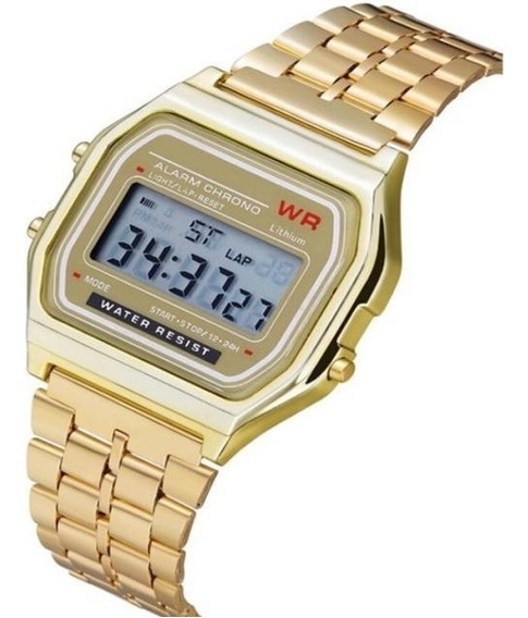 Relógio Dourado Preto Prata Vintage Feminino Masculino