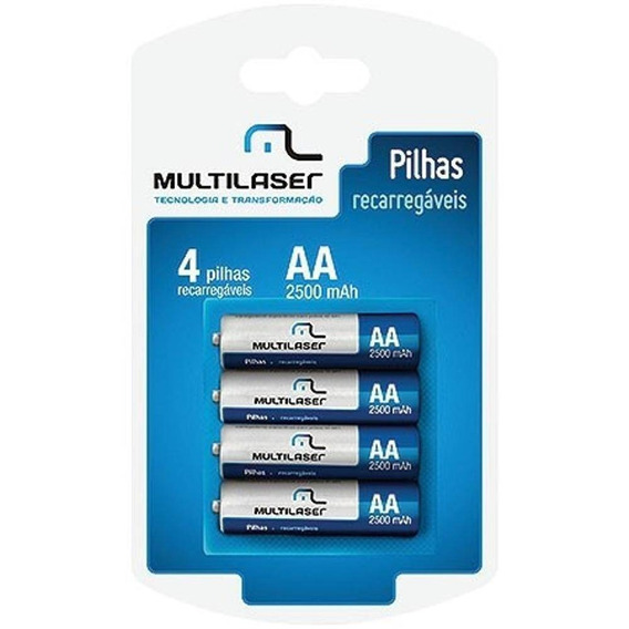 Pilha Recarregavel Multilaser Aa Com 4 Pilhas 2500mah- Cb052