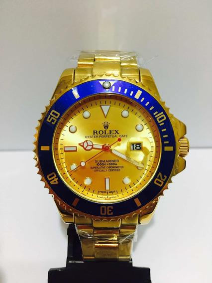 Relógio Submariner Gold Com Catraca Azul