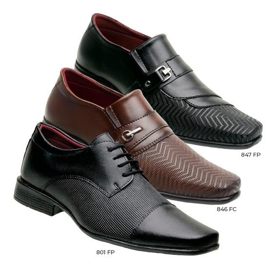 Sapato Social Masculino Kit Com 3 Pares Em Sintético Barato