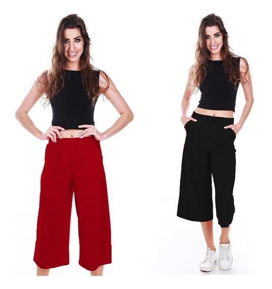 Calça Pantacourt Listrada Com Bolso Calça Cropped Midi Moda