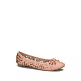 Flat Ballerina Con Perforaciones Y Moño Mujer Coral 2547749