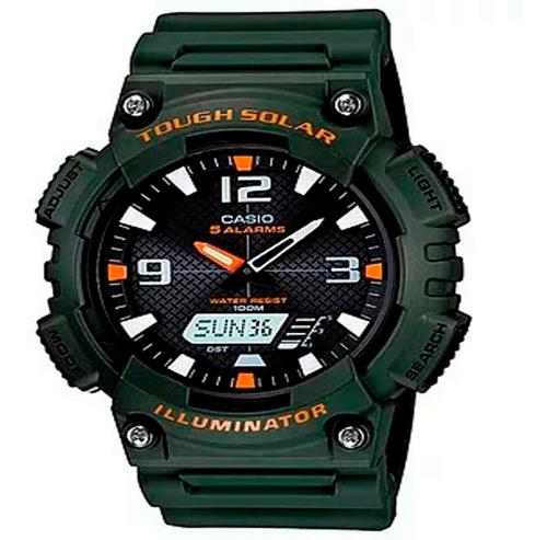Reloj Casio  Aq-s810w-3av Anadigi Quartz  Verde  Militar