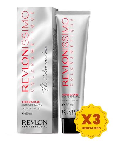 Imagen 1 de 10 de Kit X3 Tintura Revlonissimo Colorsmetique 60grs Revlon
