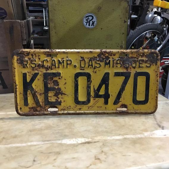 Placa Amarela Missões Carro Antigo Ferro Ñ Medalha 389