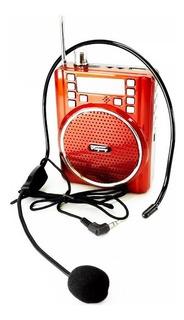 Radio Fm Bocina Megáfono Bluetooth Aux Usb Micrófono
