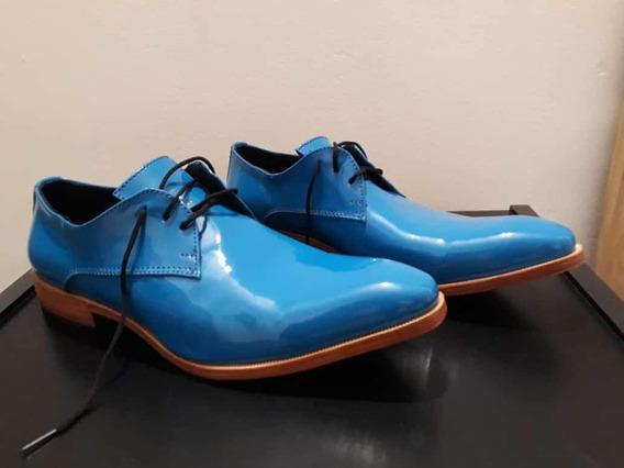 Zapatos De Cuero De Hombres Charol Turqueza